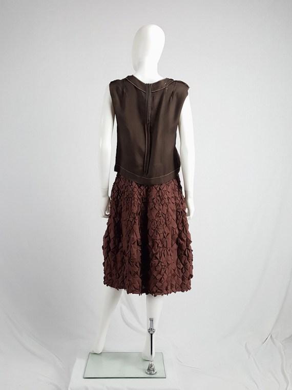 vintage Issey Miyake brown skirt with origami flowers 125139