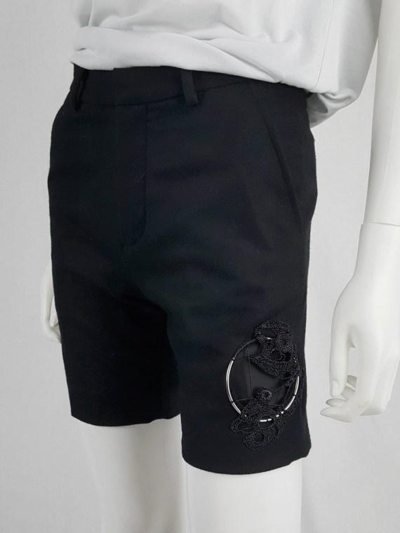 Noir Kei Ninomiya black shorts with knit circular detail — fall 2013
