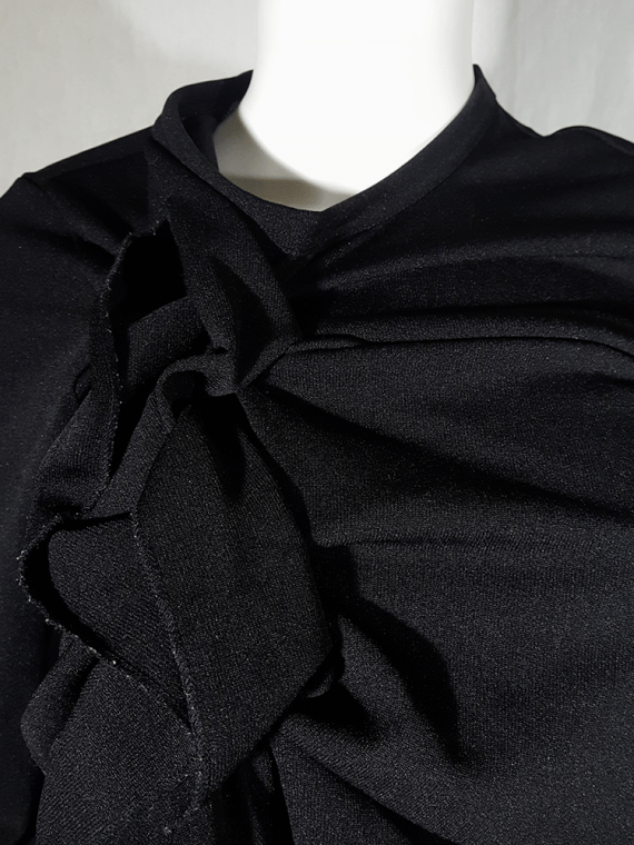 vintage Comme des Garcons black gathered top with ruffle detail fall 2011 191217