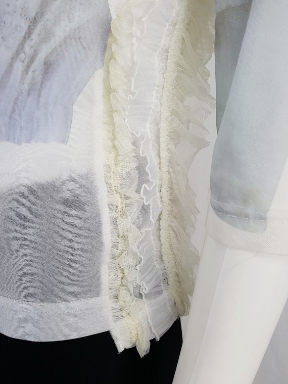 vintage Comme des Garcons white printed top with frilled side detail fall 2005 122148