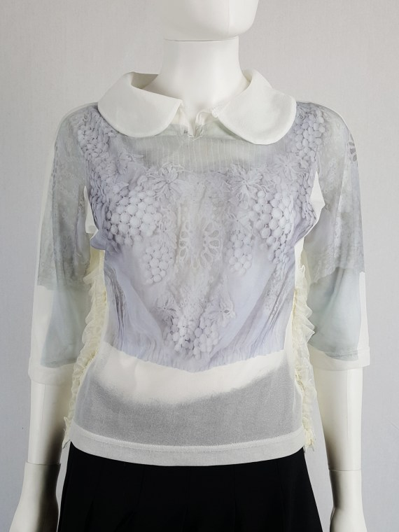 Comme des Garçons white printed top with frilled side detail — fall 2005