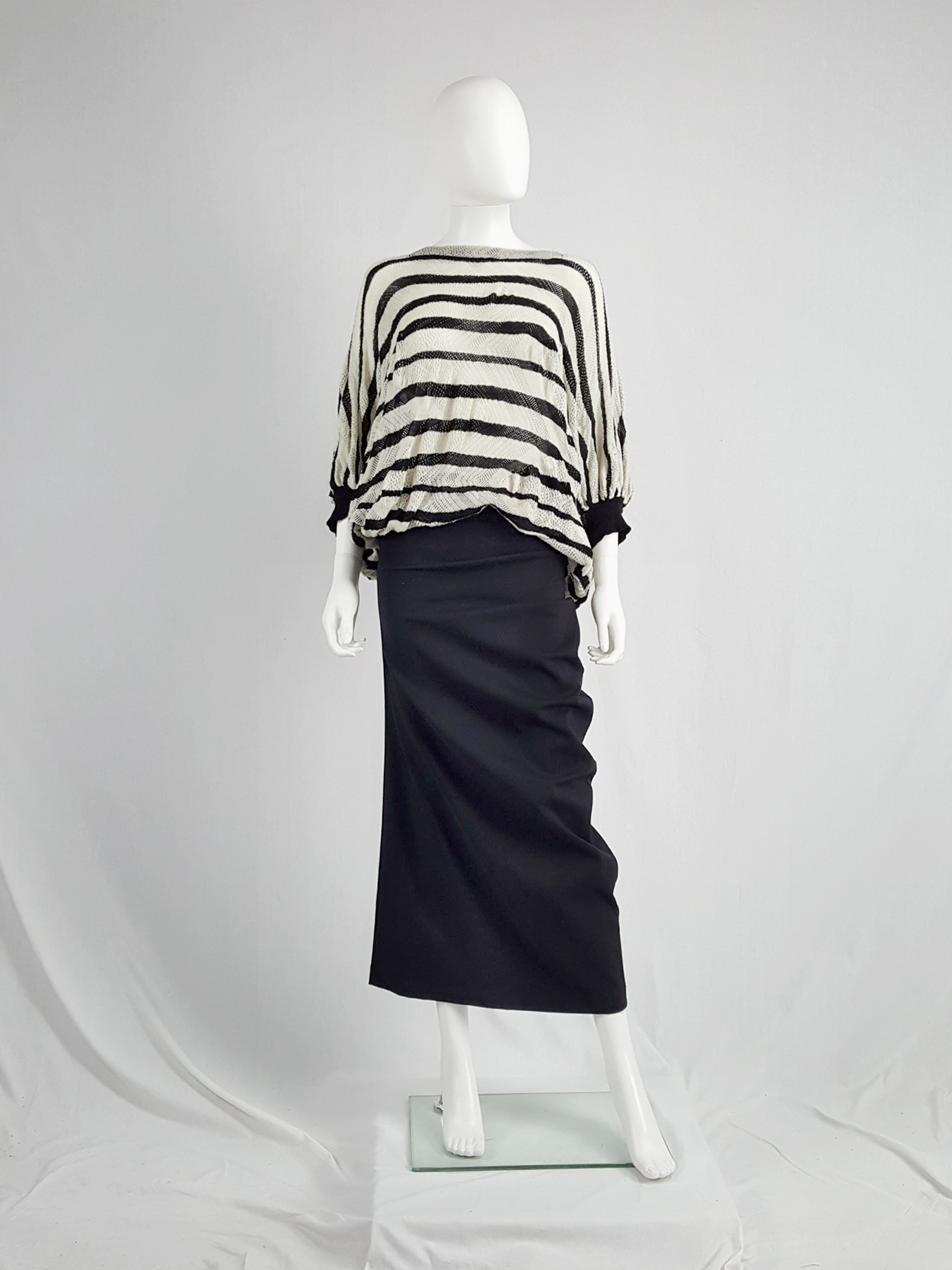 992d123294 Junya Watanabe beige and black striped bubble jumper — fall 2009 ...