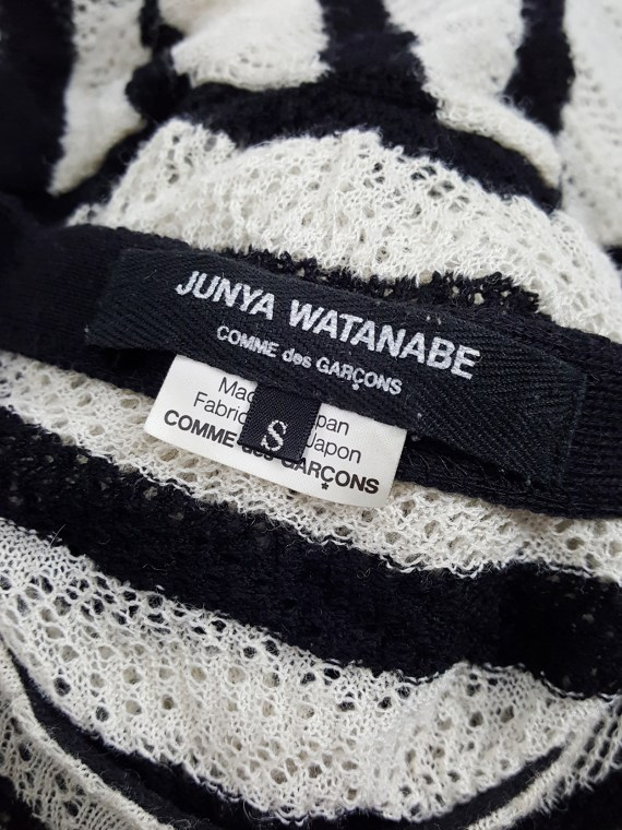 vintage Junya Watanabe beige and black striped bubble jumper AD fall 2009 134619