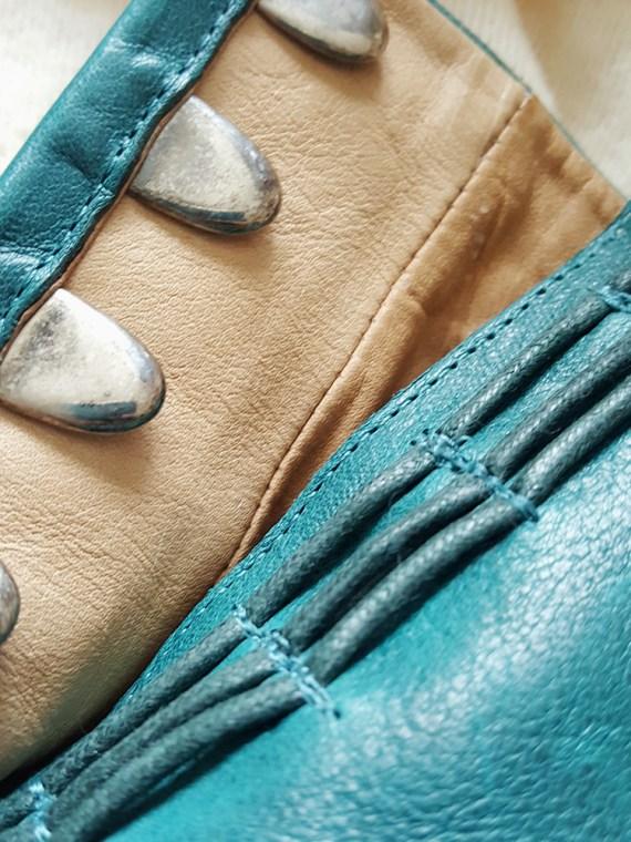 vintage Maison Martin Margiela green tabi boots with wooden block heel 125455