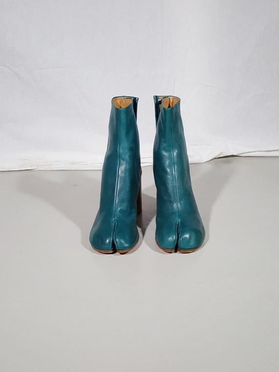 vintage Maison Martin Margiela green tabi boots with wooden block heel 181557