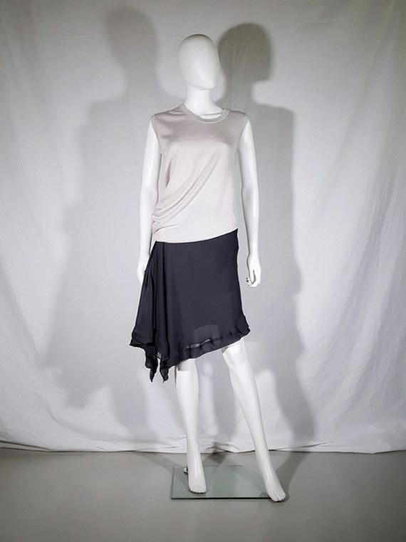 vintage Rick Owens ANTHEM grey asymmetric draped skirt spring 2011 155052