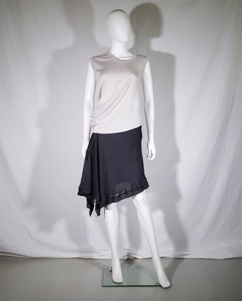 Rick Owens ANTHEM grey asymmetric draped skirt — spring 2011