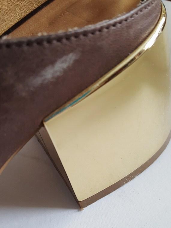 vintage Maison Martin Margiela MM6 brown mules with gold block heel spring 2017 125659