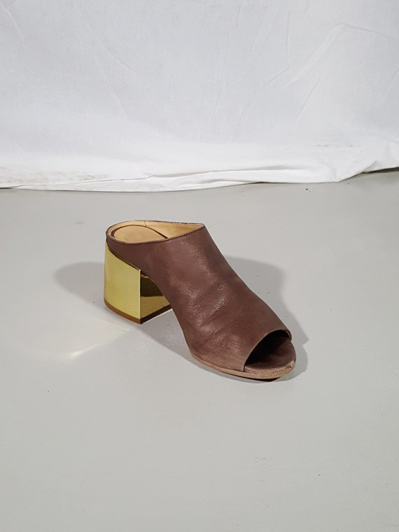 vintage Maison Martin Margiela MM6 brown mules with gold block heel spring 2017 182247(0)