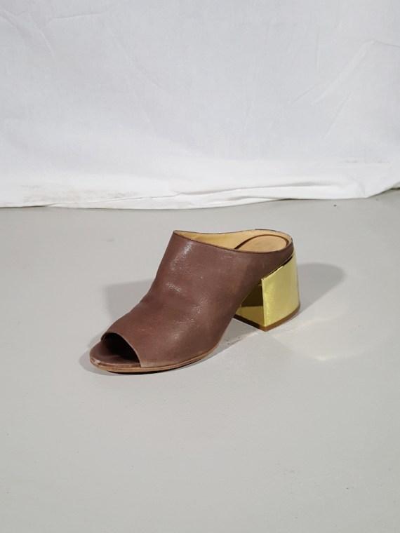 vintage Maison Martin Margiela MM6 brown mules with gold block heel spring 2017 182302