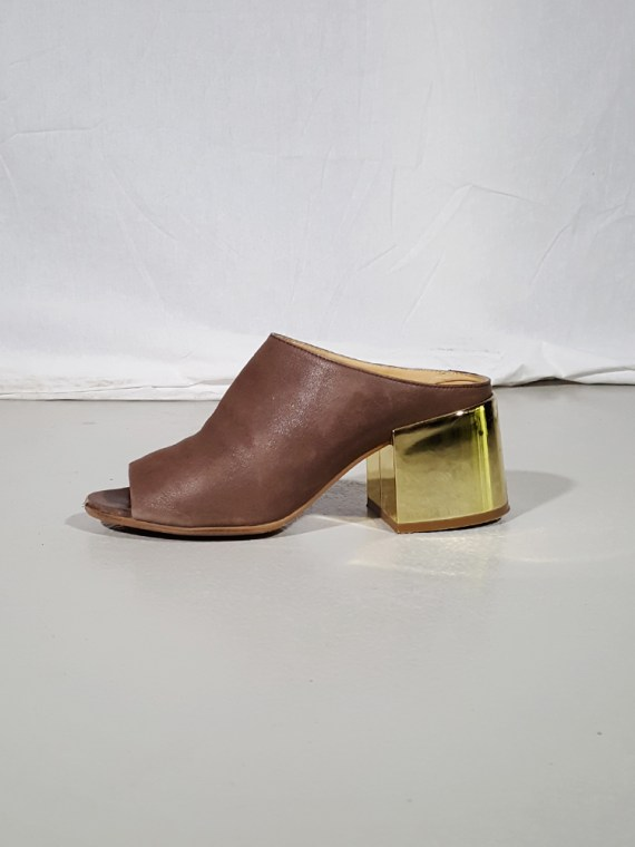 vintage Maison Martin Margiela MM6 brown mules with gold block heel spring 2017 182336