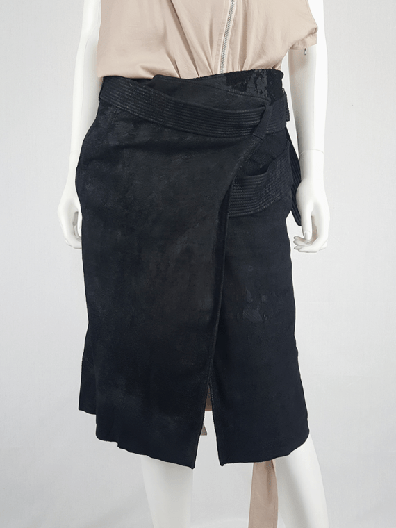 vintage Haider Ackermann black leather wrap skirt spring 2011 152909