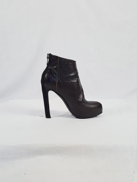 vintage Haider Ackermann brown ankle boots with back zipper fall 2010 102212