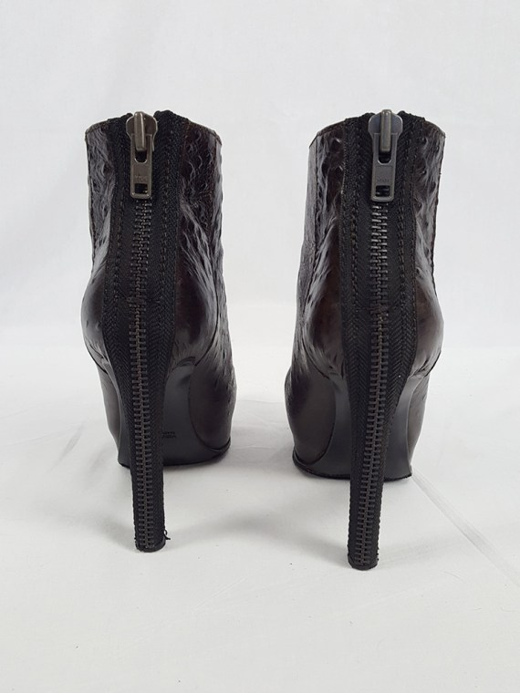 vintage Haider Ackermann brown ankle boots with back zipper fall 2010 102357