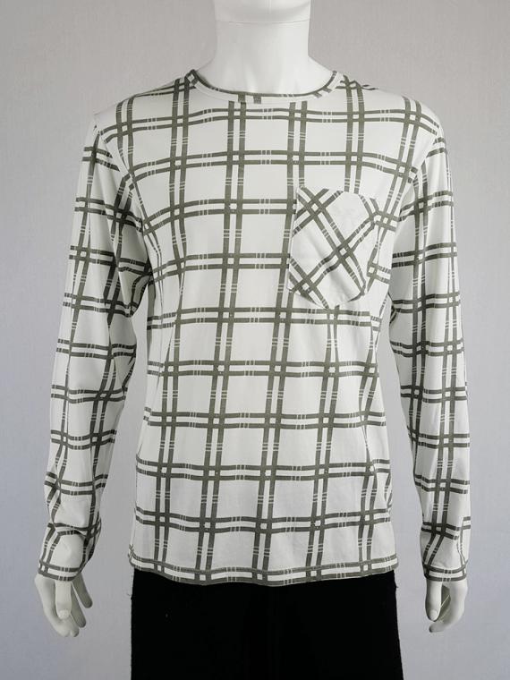Maison Martin Margiela white longsleeve top with green tartan stripes — spring 2004
