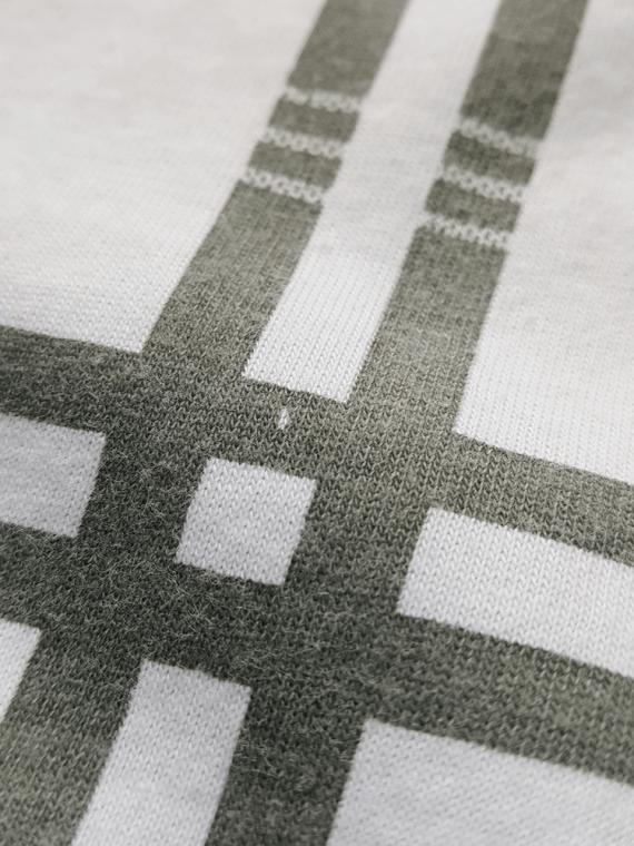 vintage Maison Martin Margiela men white longsleeve top with green tartan stripes spring 2004 180759