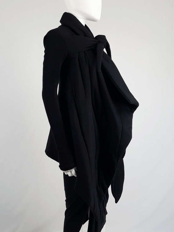 vintage Rick Owens lilies black padded coat with front drape 113607(0)