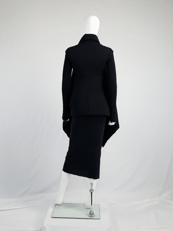 vintage Rick Owens lilies black padded coat with front drape 113750