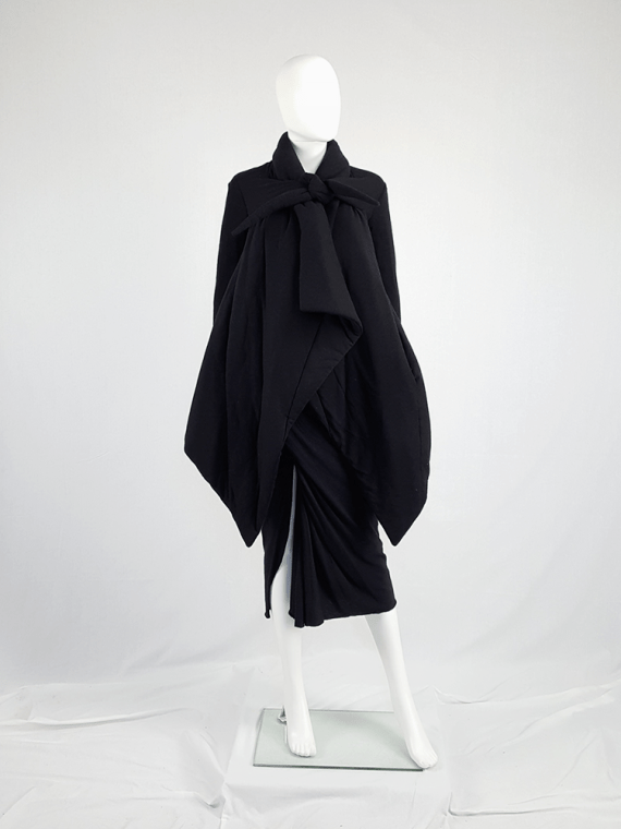 vintage Rick Owens lilies black padded coat with front drape 113920