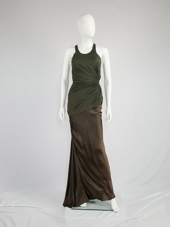 vintage Haider Ackermann green asymmetric pleated racerback top fall 2008 140009