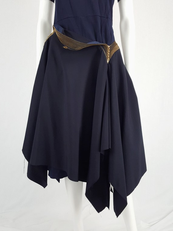 vintage Junya Watanabe blue asymmetric skirt with multi zipper waist spring 2005 111215