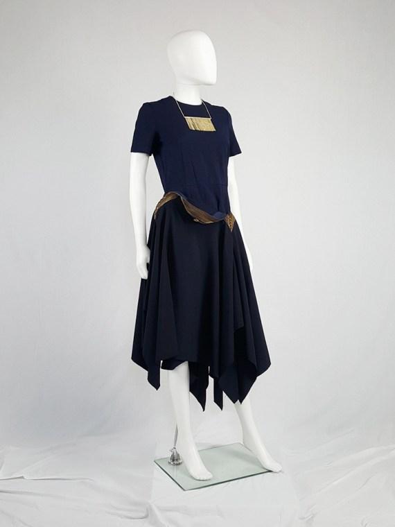 vintage Junya Watanabe blue asymmetric skirt with multi zipper waist spring 2005 112131
