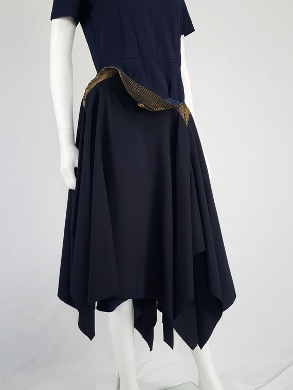 vintage Junya Watanabe blue asymmetric skirt with multi zipper waist spring 2005 112203
