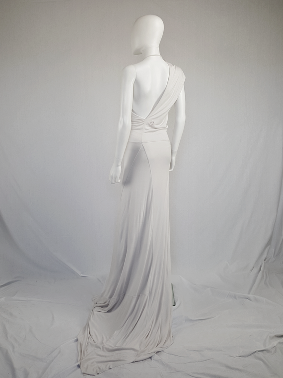 vintage AF Vandevorst white maxi dress with asymmetric open back spring 2011 115221