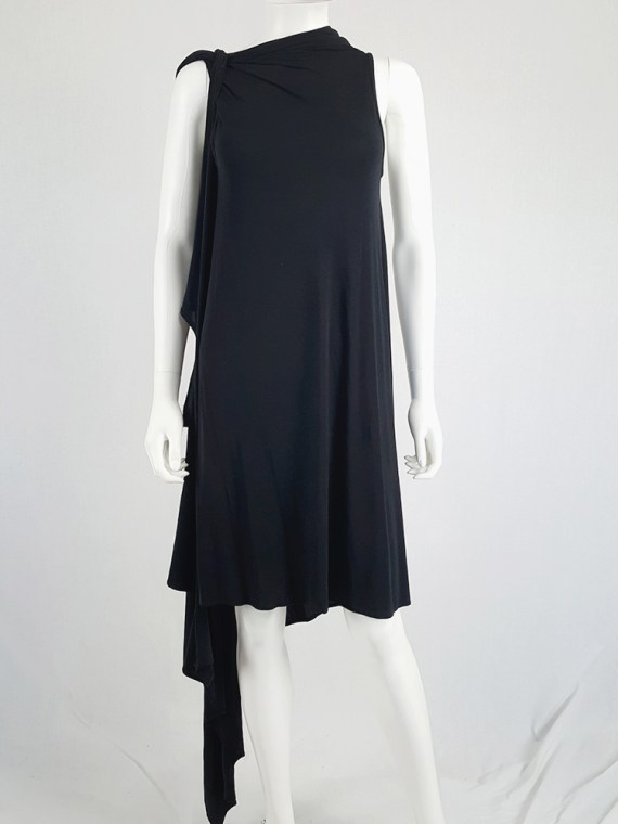 vintage Ann Demeulemeester black triple wrapped dress with 5 armholes spring 1998 091149