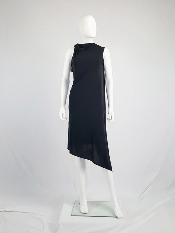 vintage Ann Demeulemeester black triple wrapped dress with 5 armholes spring 1998 091321