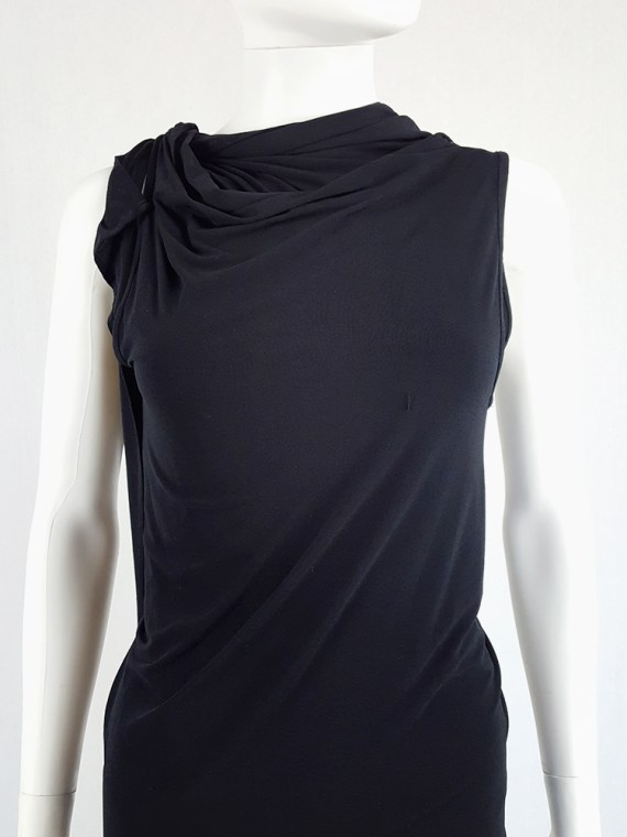 vintage Ann Demeulemeester black triple wrapped dress with 5 armholes spring 1998 091558