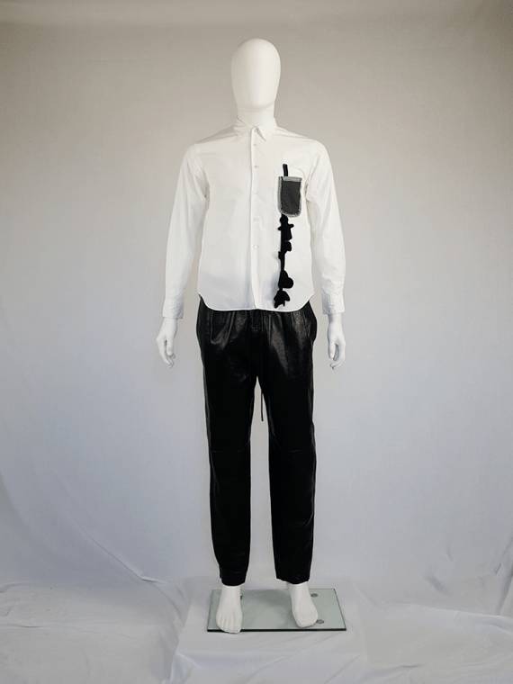 vintage Comme des Garcons Homme Plus white shirt with hanging dolls spring 2010 12000