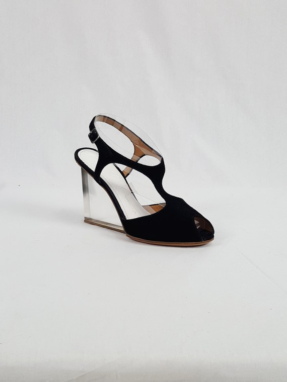 vintage Maison Martin Margiela black sandals with clear heels spring 2007 194324