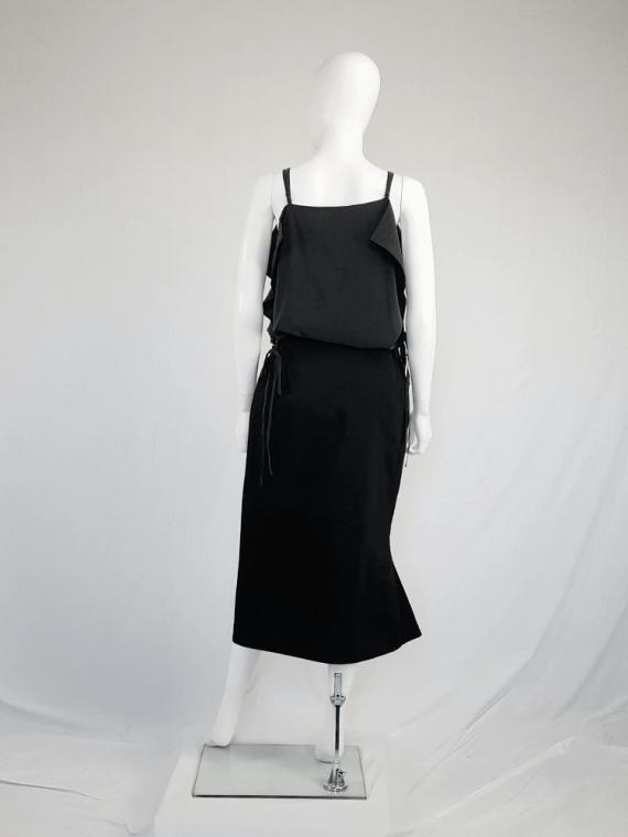 vintage Yohji Yamamoto black structured skirt with sideways curve 094305