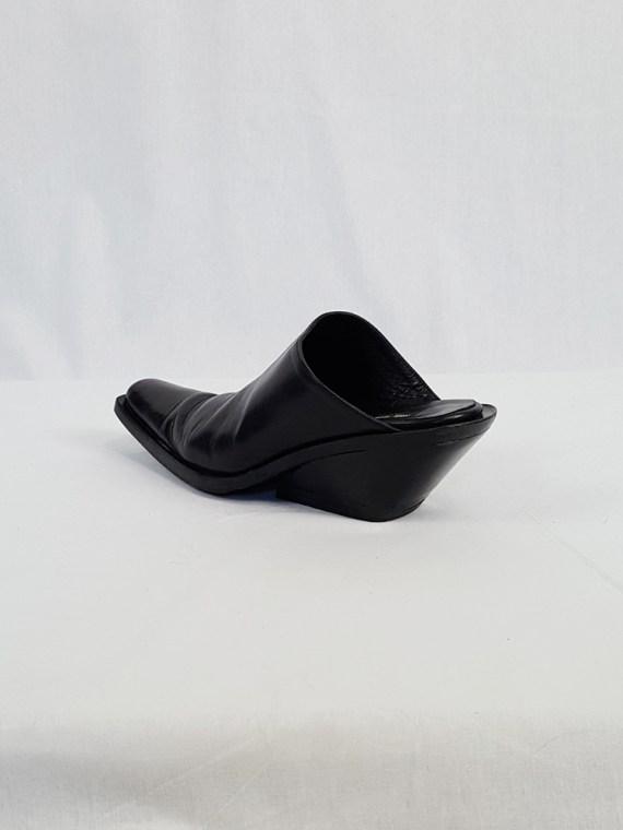 vintage Ann Demeulemeester black mules with slanted heel spring 2001 120523