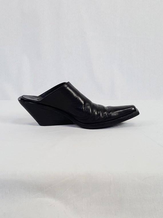 vintage Ann Demeulemeester black mules with slanted heel spring 2001 120601