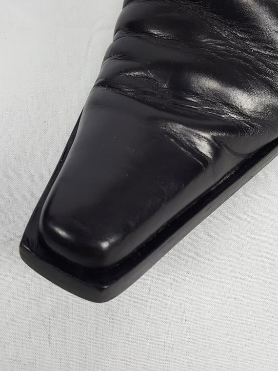 vintage Ann Demeulemeester black mules with slanted heel spring 2001 120709