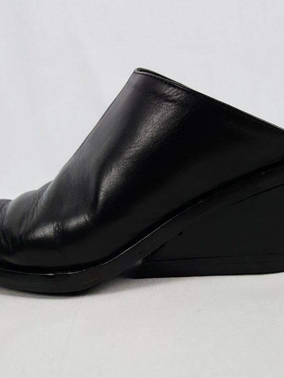 vintage Ann Demeulemeester black mules with slanted heel spring 2001 120726