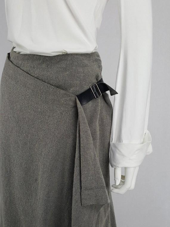 Comme des Garçons tricot grey wrap skirt with belt — AD 1992