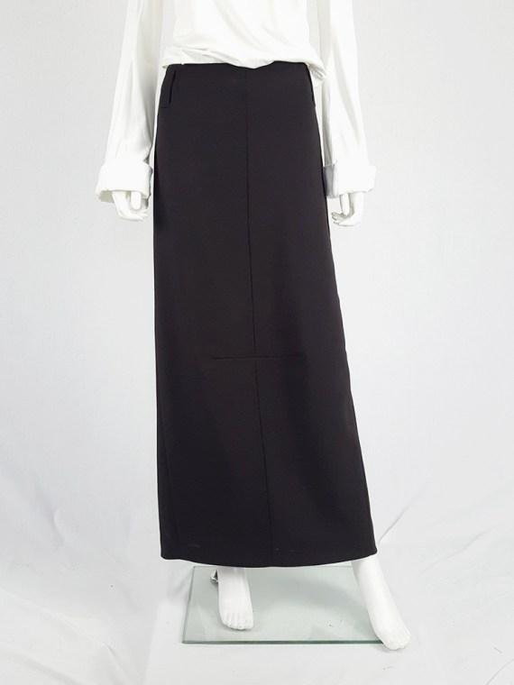 Maison Martin Margiela black maxi skirt with back slit — fall 1998