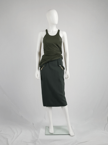 Maison Martin Margiela green skirt with exposed pocket lining — fall 2003