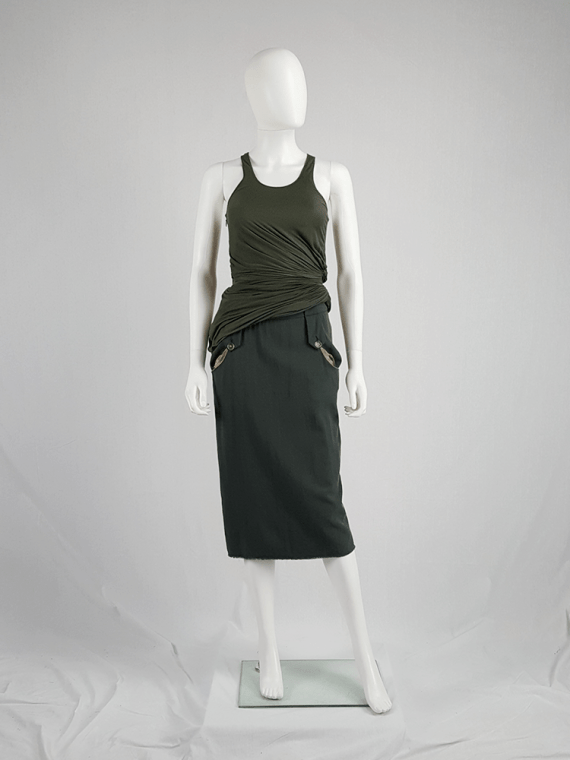 vintage Maison Martin Margiela green skirt with exposed pocket lining fall 2003 200233