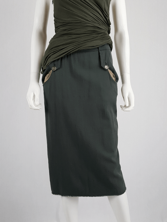vintage Maison Martin Margiela green skirt with exposed pocket lining fall 2003 200259