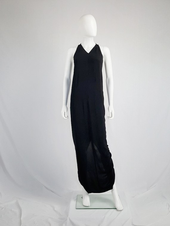 Rick Owens WALRUS black maxi dress with back slit — spring 2017