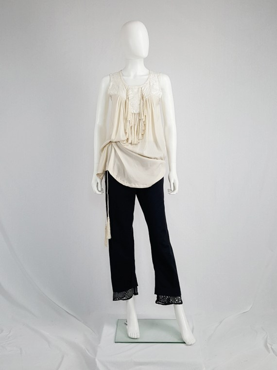 vintage Ann Demeulemeester beige top with brocade panel and tassels spring 2012 130501