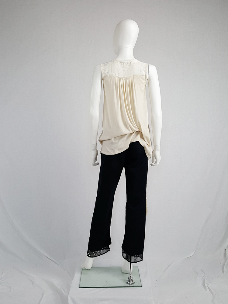 Ann Demeulemeester beige top with brocade panel and tassels — spring 2012