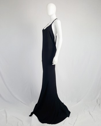 Ann Demeulemeester black backless maxi dress with back zipper strap — spring 2016