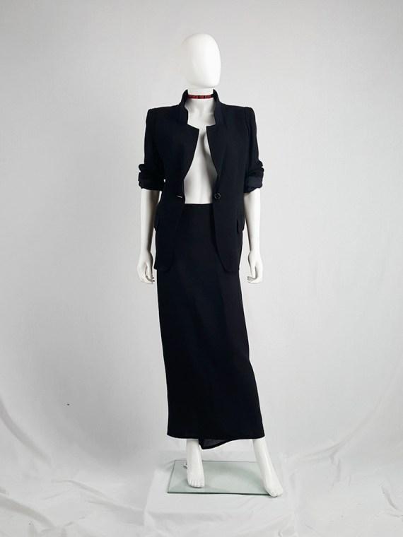 vintage Ann Demeulemeester black maxi skirt with back wrap 23062