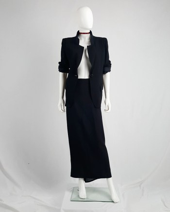 Ann Demeulemeester black maxi skirt with back wrap