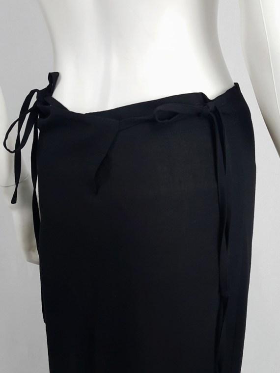 vintage Ann Demeulemeester black maxi skirt with back wrap 231242